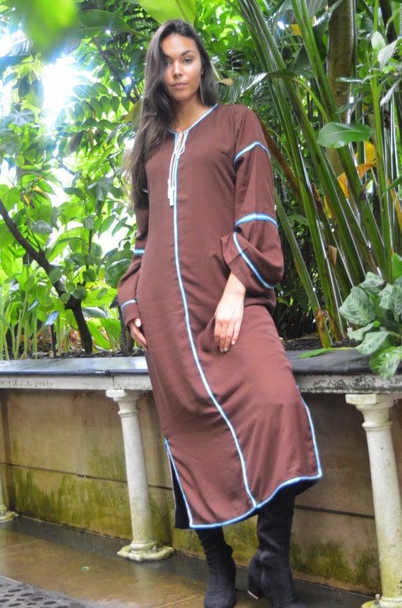 Kaftan, Caftan, Adriana Brown Kaftan Long, Moroccan Kaftan, maxi dress, beach cover ups, beach dress, plus size, winter dress, gift