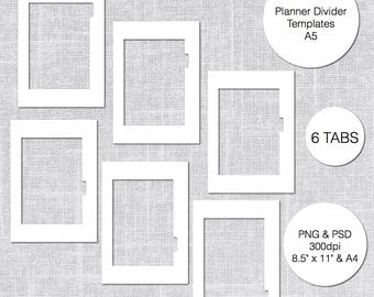 A5 Planner Divider Templates, 6 Tabs, PSD & PNG, Instant Download
