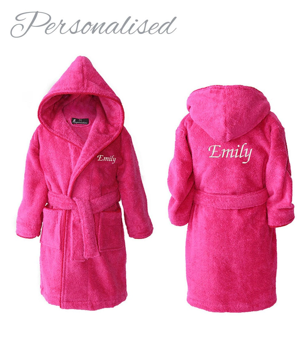 Personalised Girls Dressing Gowns, Personalized Kids Robes, Teens Bathrobes, Personalised Bathrobe for Girl, Hot Pink, 2-15 years