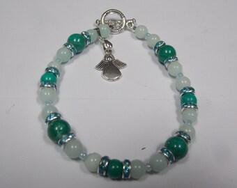 Hand made memory  beaded bracelet w/ Azurite