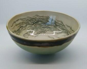 Stirring magic stoneware hand painted ceramic wheel thrown rice bowl by Alia