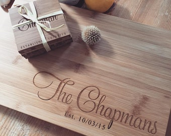Engraved Coasters & Custom Cutting Board Gift Set - Wood Chopping Board, Custom Coasters, Cheese Board, Butcher Block, Couple Cutting Board