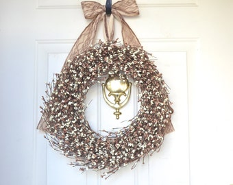 Fall wreath Burlap & Cream Berry Wreath Fall Season Wreath Holiday Wreath Burlap home decor Front door decor Year round decor Burlap ribbon