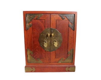 Vintage Mahogany & Brass Asian Style JEWELRY STORAGE BOX