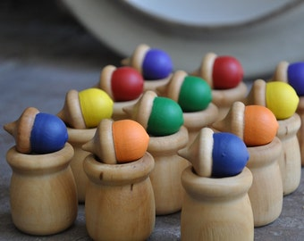 Rainbow Acorn Memory and Matching Game- A Waldorf and Montessori Inspired Educational Toy (K)