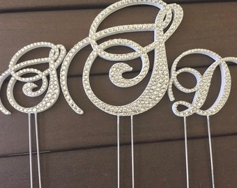 Bling Wedding Cake Topper - Crystal Sparkle Rhinstone Triple Monogram - Three Letters - A B C D E F G H I J K L M N O P Q R S T U V W X Y Z