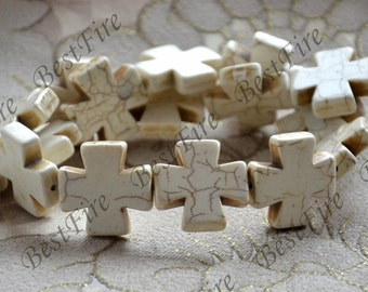 25 mm White cross Turquoise loose beads,turquoise nugget gemstone beads,turquoise beads 15inch