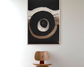 Large original abstract ink art, circle art, modern circle abstract, movement, minimal ink art, original black and white abstract painting
