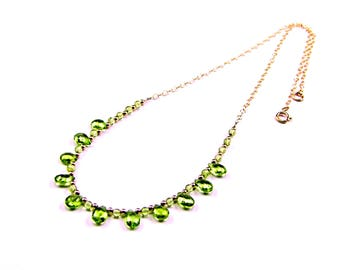 Exquisite Peridot Faceted Briolette Gold Necklace - N918