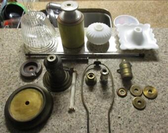 Antique Lamp Parts   18 Parts