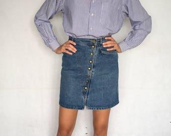 80s Vintage High Waist Jeans Denim Skirt
