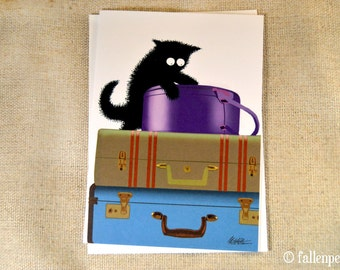 Black Cat on Luggage Greeting Card - Sammy the Cat Takes a Trip Illustration