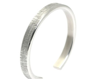 Thin Linen Aluminum Cuff - Silver Stackable Mix and Match Cuffs - Handmade Silver Toned Jewelry for Women and Men - 10th Anniversary Gifts