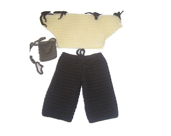 Vanilla, baby doll 38 cm crocheted hand bag and black pants set