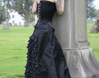 Gothic Edwardian Victorian Mourning Black Skirt Taffeta Custom Lace FREE SHIPPING