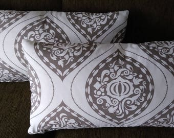 """Lumbar Teardrop Medallion Pillow Cover with Zipper,26""""x15"""",Includes Down and Feather Insert,Designer Fabric,You Pay Shipping."""