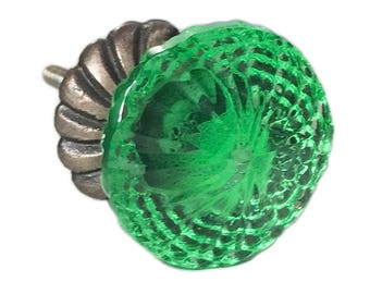 Green Glass with Back Plate Dresser Knob, Cabinet Pull or Drawer Knob - G120