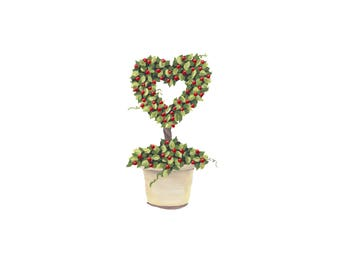 Topiary Heart with Berries Print of Original Acrylic Painting - Love Print - Valentines