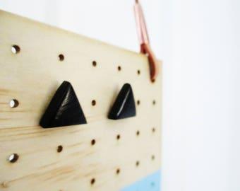 black geometric earring studs triangles