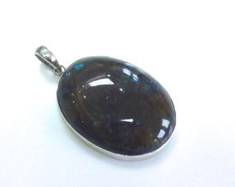Large Oval Labradorite Stone Pendant Sterling Silver Labradorite Pendant Blue and Brown Labradorite Pendant