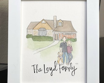 Watercolor Family Portraits with Home