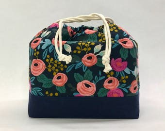 Rosa Floral Navy Large Drawstring Knitting Project Craft Bag - READY TO SHIP