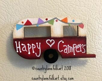 camper magnet, vintage camper, happy camper, refrigerator magnets, painted wood camper, camper decor, kitchen magnets, mothers day gift