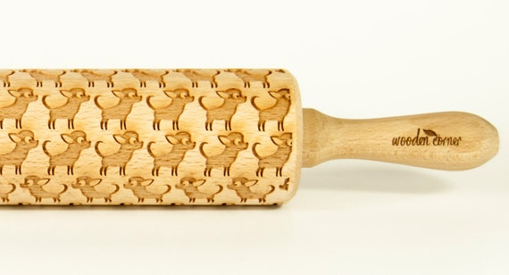 Chihuahua Rolling Pin Engraved Rolling Pin Embossed Rolling Pin  Wooden Rolling pin