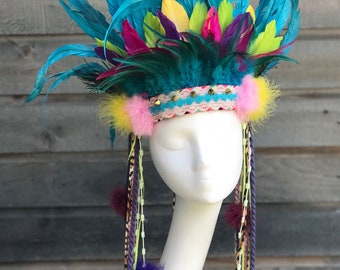 Feather Headdress, Festival Wear, Indian Headdress, Feather Crown, Cosplay, Rave, RDC, EDM, Headpiece, Bohemian.