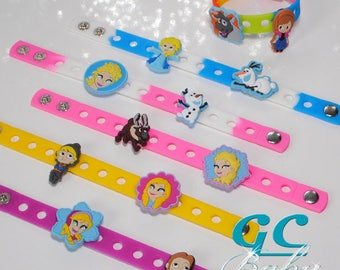 Frozen Themed Bracelets for Gift and Birthday Party Favors - Adjustable Silicone bracelets with Charms