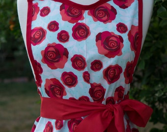 NEW - Apron - Vintage Style Retro - Red Roses