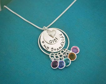 Personalized Grandma Necklace, Grandmother Necklace, Birthstone Necklace, Love my Grandchildren Necklace, Hand Stamped, Mother's Day Gift