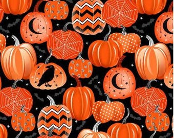 Pumpkin fabric, orange and black pumpkin fabric, Halloween fabric,  Henry Glass fangtastic fabric, raven fabricFree Domestic Ship over 50