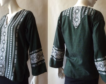 Traditional vintage Guatemalan shirt, dark green with white embroidery, pointy back yoke, men's small / women's medium