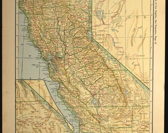 California Map California Railroad Antique Original 1920s