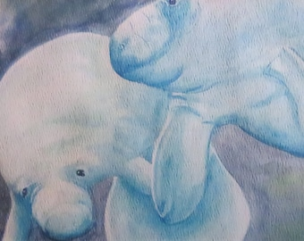 "5 x 7 Digital Print of Original Watercolor Painting: ""Manatee Friends"""