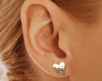 Heart Stud Earrings, Sterling  Silver, Tiny, Sophisticated, Easy to Wear,