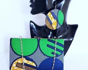 Green African print clutch bag set Ankara clutch bag Box clutch Tribal clutch bag, Custom made Bag Clutch Bag Accessories Gift