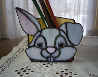 Grey Bunny/Rabbit Tiffany Pencil Case, stained glass pencil case, handmade item, table decoration, gift for children