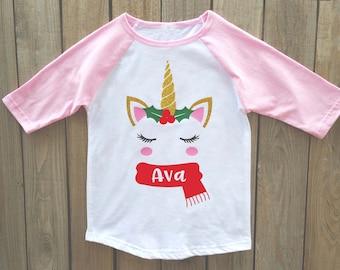 christmas shirt girls christmas shirt unicorn christmas shirt personalized christmas shirt christmas - Christmas Shirts For Girls
