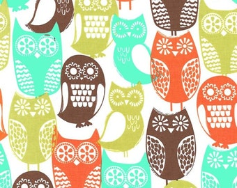 Swedish Owls Fabric - Mid Century Fabric - Michael Miller Fabric - Brown Aqua Green - Michael Miller Discontinued - Owl Modern Fabric