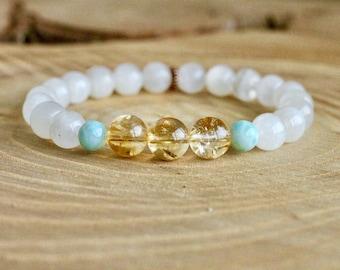 Goddess Bracelet, Moonstone Mala Bracelet, Mala Bracelet, Yoga bracelet, healing bracelet, citrine bracelet, Larimar bracelet, yoga jewelry
