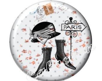 1 cabochon 30mm domed glass, Lady of Paris, vintage, retro, boots, shoes, hat