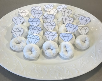 Set of 20 Donut Ring Toppers; Bachelorette Party; Bridal Shower; Engagement Party; Wedding