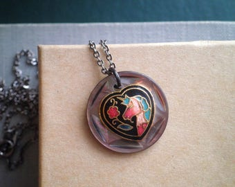 Vintage Enamel Unicorn Mother Of Pearl Button Pendant - Retro Bohemian Button Charm Necklace - Cloisonne Unicorn Boho Jewelry Gift For Her