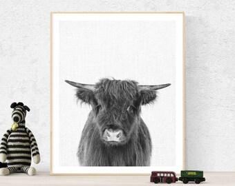Highland cow print, printable highland bow, Nursery Wall Art, Printable Art, Black and White Animal Prints, highland cow photography