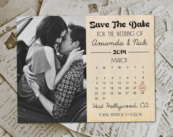 """Wedding Save The Date Card DIY Printable PDF- HollywoodDrive  Photo Personalized 4.25""""x5.5"""""""