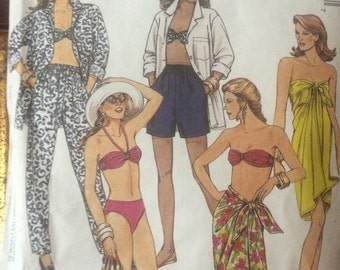SALE Gorgeous Cruise Wear Pattern---McCalls 6030---Pareo, Bikini, Pants, Shirt, Shorts, Bra Top