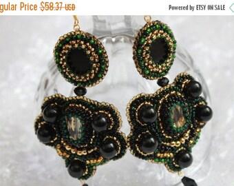 SALE Extra long Earrings wife gift Bead Embroidery gift for her Black Earrings Statement Earrings Party Earrings Agate Earring