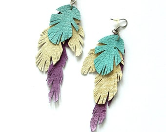 SALE Statement Boho Leather Suede Feather Earrings